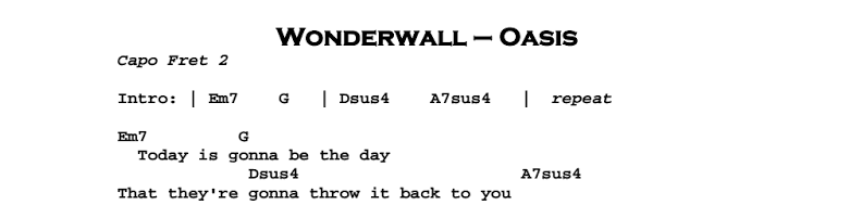 Oasis Wonderwall Guitar Lesson Tab Chords Jerrys Guitar Bar