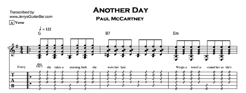 Paul McCartney – Another Day Tab