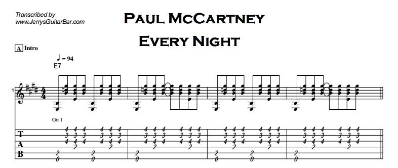 Paul McCartney - Every Night Tab