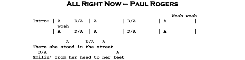 Paul Rodgers (Free, Bad Company) – All Right Now (acoustic) Chords & Songsheet