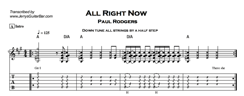 Paul Rodgers – All Right Now (acoustic) Tab