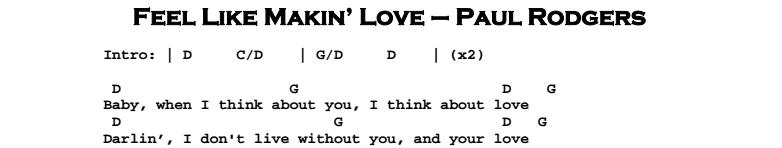Paul Rodgers – Feel Like Makin' Love Chords & Songsheet