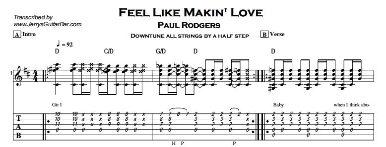 Paul Rodgers – Feel Like Makin\' Love | Guitar Lesson, Tab & Chords | JGB