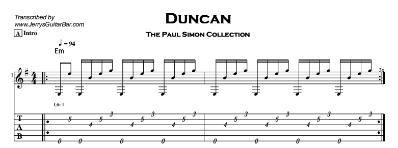 Paul Simon - Duncan Tab