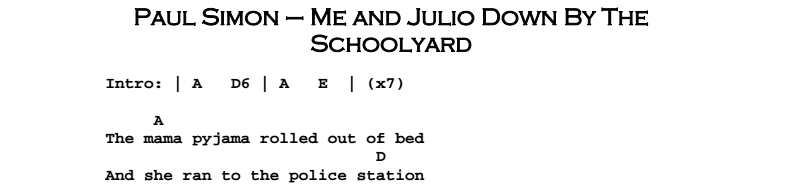 Paul Simon - Me And Julio Down By The Schoolyard Chords & Songsheet