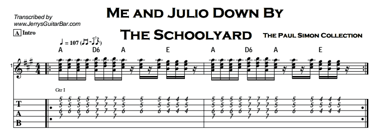 Paul Simon - Me And Julio Down By The Schoolyard Tab