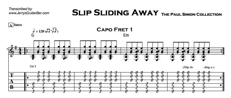 Paul Simon Slip Sliding Away Guitar Lesson Tab Chords Jgb