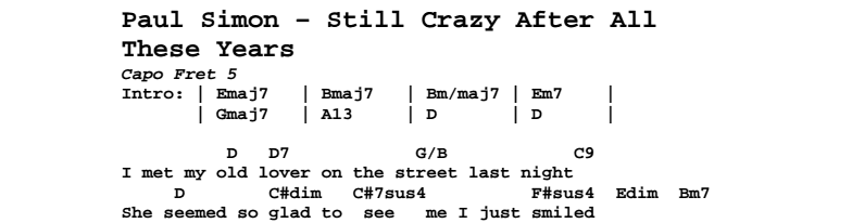 Paul Simon - Still Crazy After All These Years Chords & Songsheet