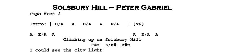 Peter Gabriel – Solsbury Hill Chords & Songsheet