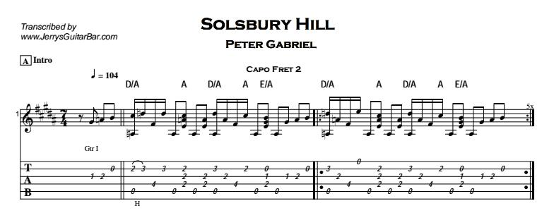 Peter Gabriel – Solsbury Hill Tab