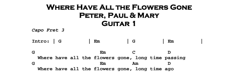 Peter, Paul & Mary – Where Have All The Flowers Gone Chords & Songsheet