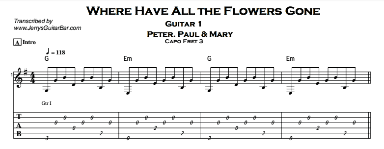 Peter, Paul & Mary – Where Have All The Flowers Gone Tab