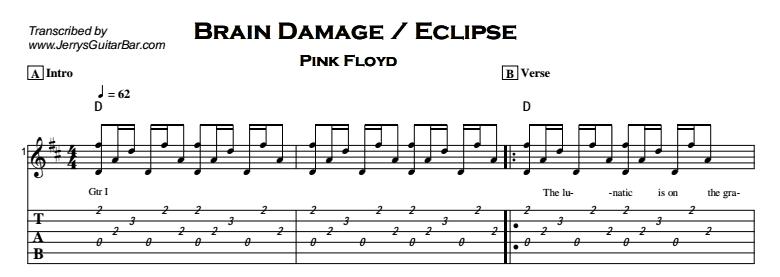 Pink Floyd – Brain Damage / Eclipse Tab