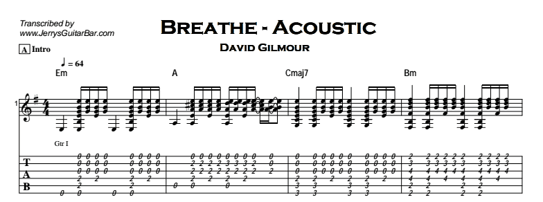 Pink Floyd - Breathe - Jerry\'s Guitar Bar
