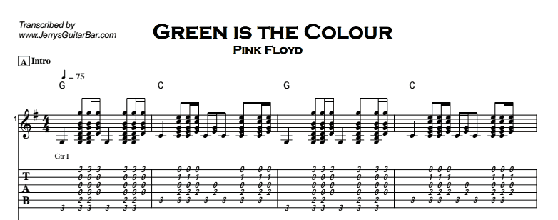 Pink Floyd - Green is the Colour Tab