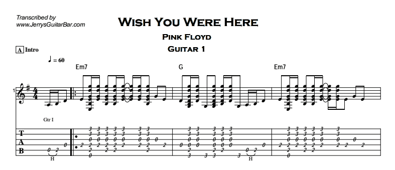Guitar guitar tabs wish you were here : Pink Floyd – Wish You Were Here - Jerry's Guitar Bar