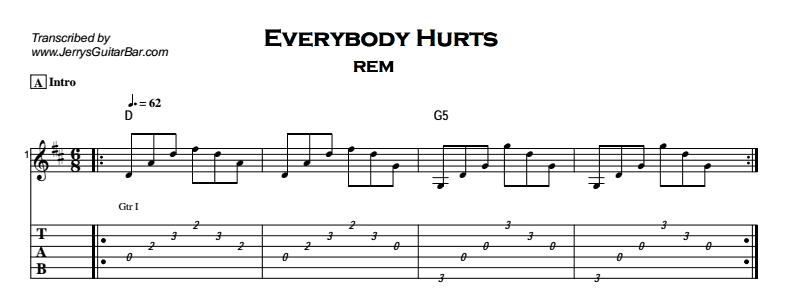REM – Everybody Hurts | Guitar Lesson, Tab & Chords | Jerry\'s Guitar Bar