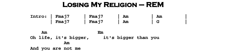 Rem Losing My Religion Chords Image Collections Chord Guitar
