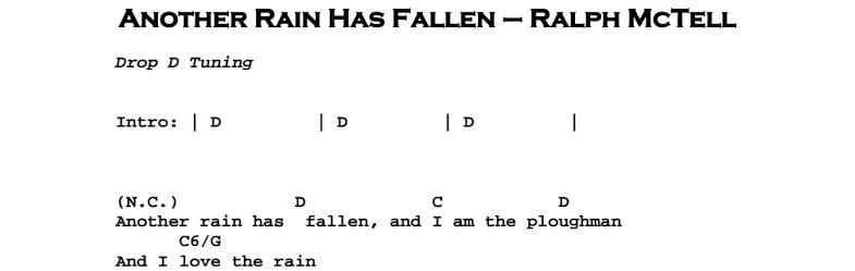 Ralph McTell – Another Rain Has Fallen Chords & Songsheet