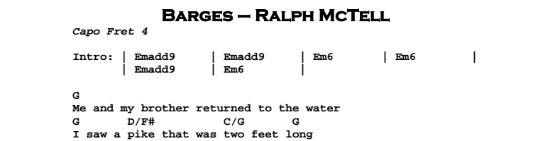 Ralph McTell - Barges Chords & Songsheet