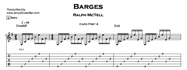 Ralph McTell - Barges Tab