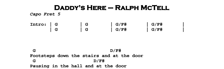 Ralph McTell – Daddy's Here Chords & Songsheet