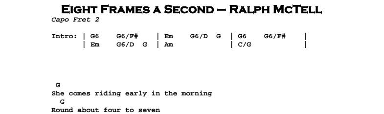Ralph McTell – Eight Frames a Second Chords & Songsheet