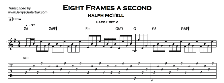 Ralph McTell – Eight Frames a Second Tab