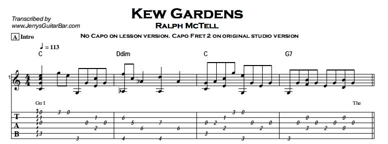 Ralph McTell – Kew Gardens Tab