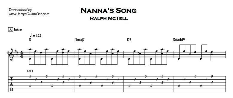 Ralph McTell – Nanna's Song Tab