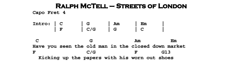 Ralph McTell - Streets of London Chords & Songsheet