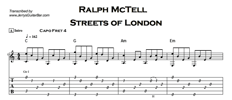 Ralph McTell - Streets of London Tab