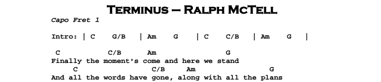 Ralph McTell - Terminus Chords & Songsheet