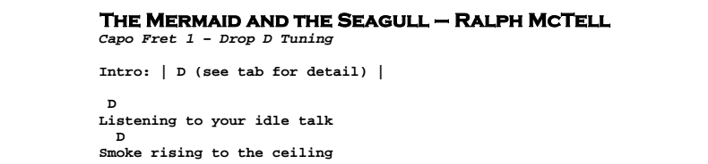 Ralph McTell – The Mermaid and the Seagull Chords & Songsheet