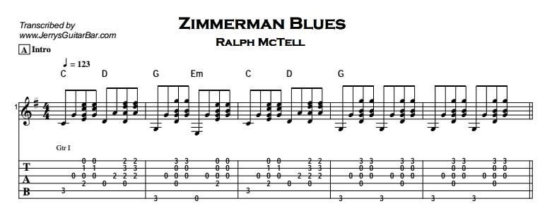 Ralph McTell – Zimmerman Blues Tab
