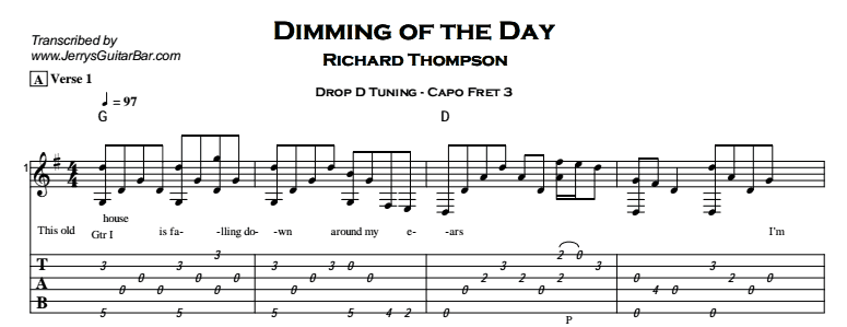 Richard Thompson – Dimming of the Day Tab