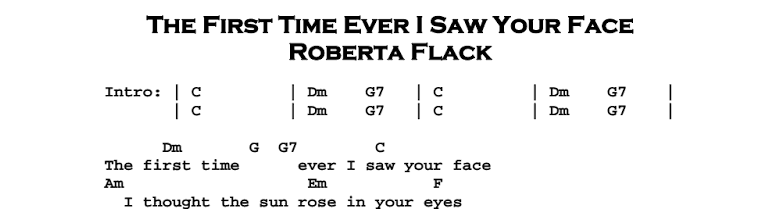 Roberta Flack – The First Time Ever I Saw Your Face Chords & Songsheet