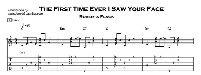 Roberta Flack – The First Time Ever I Saw Your Face Tab