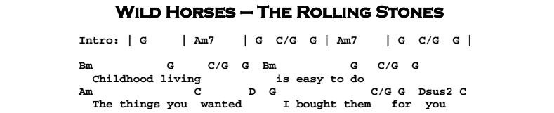 The Rolling Stones – Wild Horses Chords & Songsheet