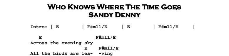 Sandy Denny – Who Knows Where The Time Goes Chords & Songsheet