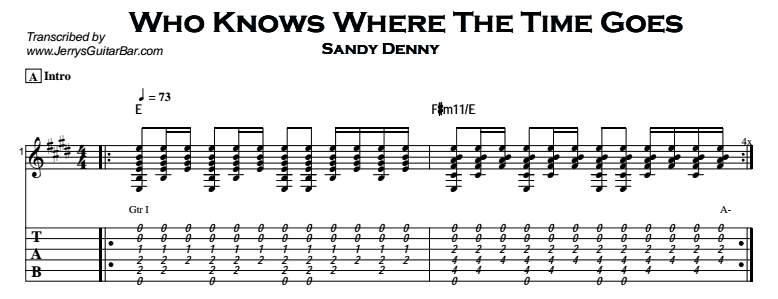 Sandy Denny – Who Knows Where The Time Goes Tab
