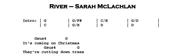 Joni Mitchell / Sarah McLachlan – River Chords & Songsheet