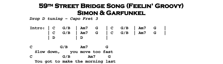 Simon & Garfunkel – 59th Street Bridge Song - Feelin' Groovy Chords & Songsheet