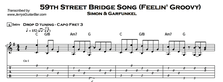 Simon & Garfunkel – 59th Street Bridge Song - Feelin' Groovy Tab