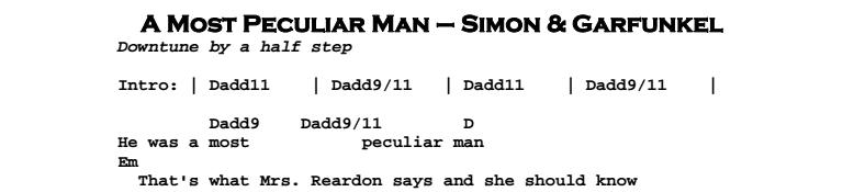 Simon & Garfunkel – A Most Peculiar Man Chords & Songsheet