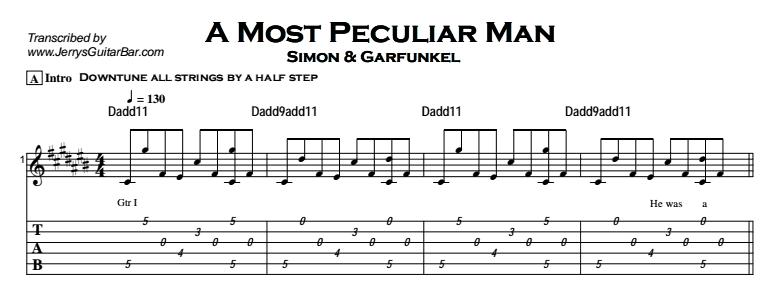 Simon & Garfunkel – A Most Peculiar Man Tab