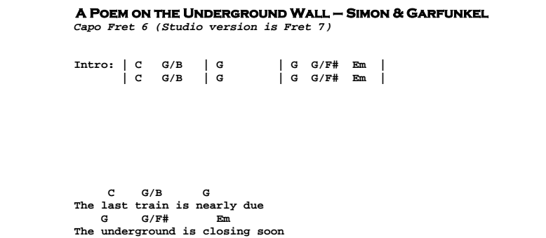Simon & Garfunkel – A Poem on the Underground Wall Chords & Songsheet