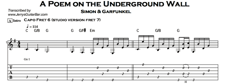 Simon & Garfunkel – A Poem on the Underground Wall Tab