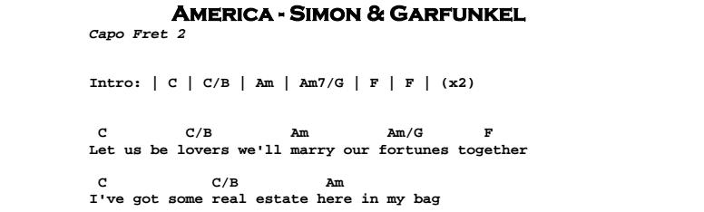Simon & Garfunkel - America Chords & Songsheet