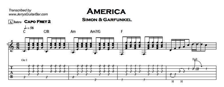 Simon & Garfunkel - America Tab